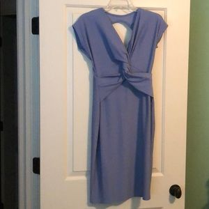 Pale blue maternity dress with cutout detail